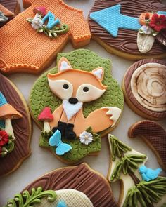 Lorena Rodríguez. Fox cookie. Woodland cookies Paint Cookies, Fondant Cookies, Fox Cookies, Cupcake Cookies, Rolled Sugar Cookies, Iced Cookies, Cakepops, Cupcakes, Woodland Cake