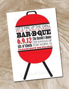 BBQ Grill Invitation - Digital File. $12.00, via Etsy.