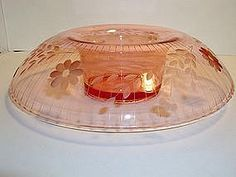 LARGE PINK ENGRAVED DEPRESSION GLASS CONSOLE BOWL!