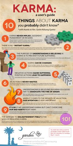 """Karma"" is one of those words that gets thrown around a lot these days. But what is karma, really? Is it luck? Is karma fate? This infographic on karma will teach you ten things about it that you probably didn't know (unless you're already Buddhist, t Religion, Instant Karma, Spiritual Awakening, Awakening Quotes, Inner Peace, Psychology, Meditation, Stress, Mindfulness"