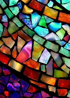 Marbleized Stain Glass window looks very fluid because of the gradient look in each color.