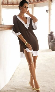 Stylish Lady Women's New Fashion Sexy V-neck Half Sleeve Chiffon Bikini Cover Up Bikini Dress Beachwear