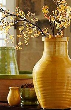Yellow and Green Pottery