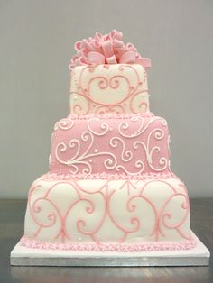 wedding cake : perfect ! Frost, border and intricate piping in BC... removable bow or flowers on top... gorgeous AND delicious ...win/win for all at a fraction of the cost of detailed fondant cakes!!!