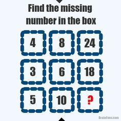 Brain teaser - Number And Math Puzzle - find the missing number in the box. Read the picture row by row. It's not that hard.