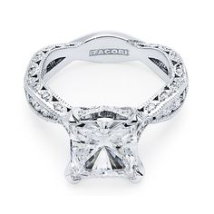 "Tacori ""RoyalT"" Princess Cut Twisting Crescent Engagement Ring"