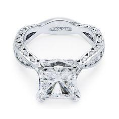 "Tacori ""RoyalT"" Princess Cut Twisting Crescent Engagement Ring"