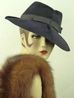 VINTAGE HAT 1940s THE KNOX VAGABOND, DEEP BLUE FEDORA HAT w GROSGRAIN BAND & BOW   eBay