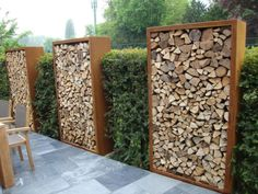 What a way to store firewood. Beautiful
