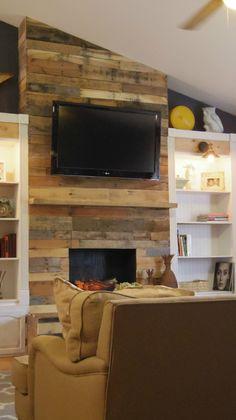 diy pallet wood fireplace, diy, fireplaces mantels, pallet ...