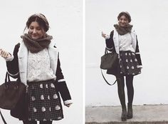 Oasap Sweater, Oasap Skirt, Asos Bag, Sheinside Coat, Asos Shoes