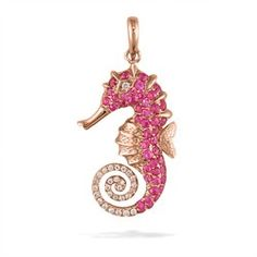 Rose Gold Seahorse Pendant with Pavé Pink Sapphires and Diamonds - Sea Life Jewelry - Shop