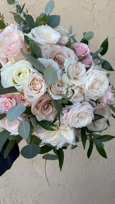 Garden Rose Bouquet, White Rose Bouquet, White And Pink Roses, Rose Bridal Bouquet, Diy Wedding Bouquet, Diy Wedding Flowers, Bridal Flowers, Flowers Roses Bouquet, Blush Roses