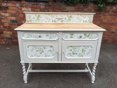 All finished beautiful sideboard painted with Frenchic Sugar Puff and then Decoupaged paint Painted Sideboard, Painted Furniture, Furniture Ideas, Real Milk Paint, Miss Mustard Seeds, General Finishes, Annie Sloan Chalk Paint, 3c, Cabinets