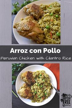 A traditional Peruvian dish, savory chicken, cooked with rice, mixed vegetables and cilantro. Beer and bit of aji amarillo give the rice depth of flavor and a little kick  #glutenfree #dairyfree