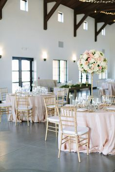 Blush, gold and ivory wedding reception decor {Megan Clouse Photography}