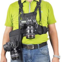 Multi Camera Carrier Photographer Vest with Dual Side Holster
