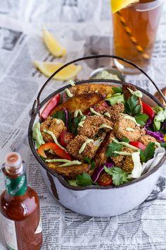 Cajun Shrimp 'n' Chips Po Boy Salad with Avocado Tarter Sauce