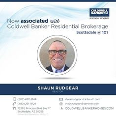 Please help us congratulate Shaun Rudgear on his recent association with Coldwell Banker Residential Brokerage! You can reach Shaun at (602) 692-5144. #ColdwellBankerArizona