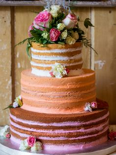Pretty Naked Cake with Pastel Layers Wedding Cake Designs, Wedding Cake Toppers, Wedding Ideas, Wedding Trends, Bolo Nacked, Nake Cake, Quinceanera Cakes, Ombre Cake, Wedding Sweets