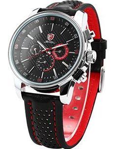 SHARK Fecha Día Negro Rojo Deporte Cuarzo Reloj de Hombre SH094