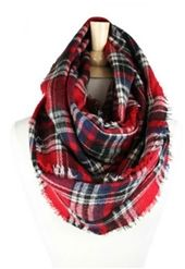 Wool Plaid Infinity Scarf, perfect for Fall layering!