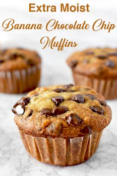Super easy recipe for moist banana chocolate chip muffins These muffins are made with oil making them dairy free and extra moist thetasteofkosher bananamuffins chocolatechips breakfast muffin dessert dairyfree dairyfreedessert Banana Chocolate Chip Muffins, Chocolate Chip Banana Bread, Banana Breakfast Muffins, Moist Banana Muffins, Breakfast Dessert, Banana Bread Cupcakes, Banana Brownies, School Breakfast, Cocoa Chocolate