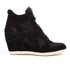 Ash Black Suede And Canvas Bowie Wedge Trainers ($205) ❤ liked on Polyvore