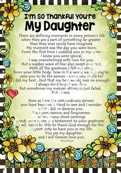 I'm So Thankful You're My Daughter – Gifty Art – Suzy Toronto: Gifts for Women Love You Daughter Quotes, Wishes For Daughter, Letter To My Daughter, Mother Daughter Quotes, I Love My Daughter, Son Quotes, Mother Quotes, Family Quotes, Best Quotes