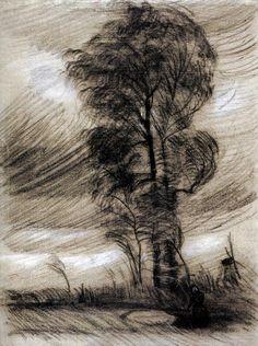 Vincent van Gogh (Pays-B. 1853-1890), Paysage à la tempête, 1885, étude, craie ur papier, Van Gogh Museum, Amsterdam