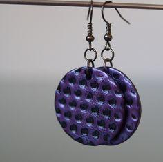 Puntíky fialové světlejší Fimo korálek o průměru 2,8 cm. Sada s náhrdelníkem a prstýnkem. - polymer by teruberu