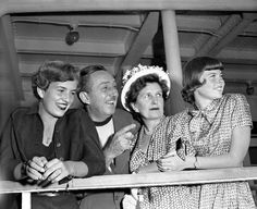 Walt Disney with his family: Diane Disney; Mrs. Lillian Disney and Sharon Disney.