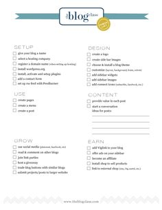 free printable from Jones Design Co: checklist for setting up/organizing/managing your blog  {Have you read about her new endeavor yet?  The Blog Class is a step-by-step guide to designing, starting, growing and earning money using your blog...includes 85 video tutorials too!  It looks seriously AMAZING and will be the perfect tool when the time is right for me to get started!}