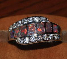 fire opal Cz ring gemstone silver jewelry size 8.25 elegant modern band design Q