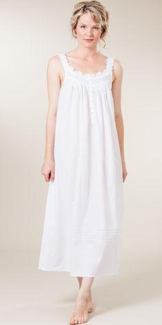 Plus Size Eileen West Sleeveless Ballet White Cotton Night Gown - Dover