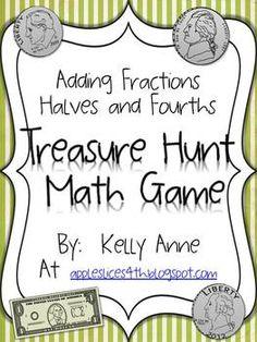 Adding Halves and Fourths Treasure Hunt Math Game (free)