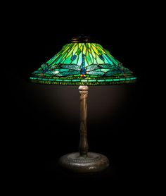 A Tiffany Studios Favrile Glass and Bronze Dragonfly Table Lamp, Diameter o
