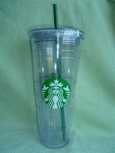 Starbucks Cold Cup To Go Clear Plastic with Straw & Lid Mermaid Logo 24 oz 2012 #Starbucks