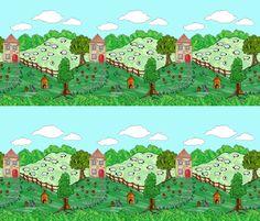 Farm border print fabric by linsart on Spoonflower - custom fabric