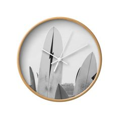 Hang Ten Wall Clock in Natural White