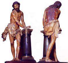 """""""Cristo atacado a la columna"""". Del escultor español Gregorio Fernández. Realizada en 1619 en madera policromada para la Iglesia de la Vera Cruz de Valladolid y mide 177 cm."""