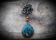 Hand wrapped Beaded Gemstone Chain with Crazy Lace Agate Pendant