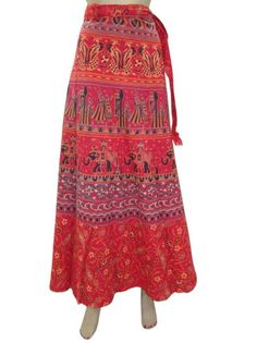 Amazon.com: Bollywood Wrap Around Skirt Maroon Jaipur Print Sarong Gypsy Cotton Long Skirts: Clothing