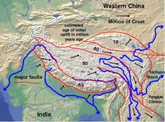 Tectonic map of major fault bounded blocks and their ages (by Clark Burchfiel and others)