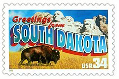 South Dakota State Postage Stamp  Depicted above is the South Dakota state 34 cent stamp from the Greetings From America commemorative stamp series. The United States Postal Service released this stamp on April 4, 2002. The retro design of this stamp resembles the large letter postcards that were popular with tourists in the 1930's and 1940's.