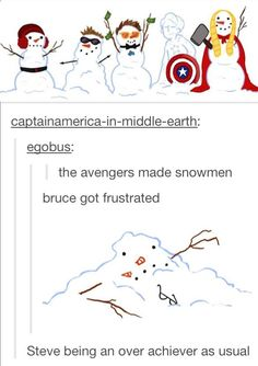 """I have a feeling Tony had something to do with Thor's snowman hahaah - """"Little Red Riding Thor"""" << LITTLE RED RIDING THOR"""