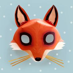 Be a Fox in 5 minutes - Try our easy fox mask template and costume idea! Owl Mask, Tiger Mask, Bear Mask, Fox Facts, Animal Facts, Mask Paper, Printable Animal Masks, 3d Templates, Mask Template
