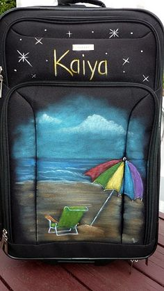 Hand painted suitcase.  Makes finding your suitcase on the luggage belt that much easier.  Painted by Sandy Pabst