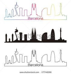 Barcelona skyline linear style with rainbow in editable vector file - stock vector