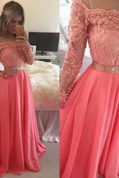 Lace Appliques Long Sleeve Muslim Prom Dresses Watermelon Chiffon Beading Cheap Prom Gowns Formal Dress